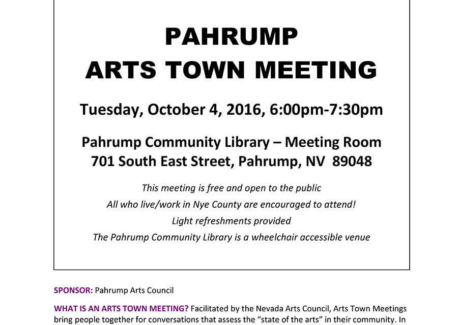 Pahrump Arts Town Meeting Big Success
