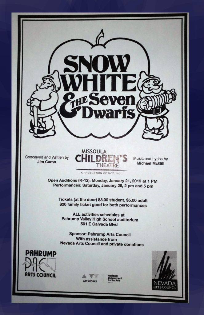 2:00 PM Missoula Children's Theatre Performance of Snow White and the Seven Dwarfs @ Pahrump Valley HIgh School Auditorium